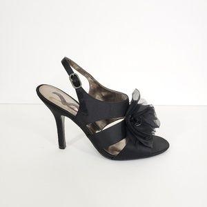 Nina Women's Black Satin Slingback Heels Size 8.5